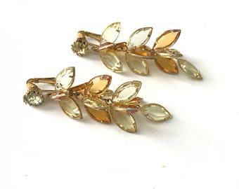 Gorgeous Vintage Navette Bezel Set Crystal Dangle Clip Earrings