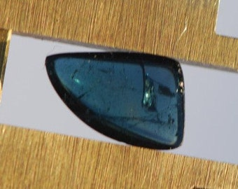 Beautiful, Dark Blue Indicolite Tourmaline Cabochon, Freeform, 10 x 7mm