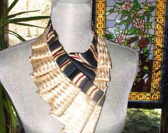 NEW - Silk Necktie Ascot - Ruffled Necktie Collar - Repurposed Necktie