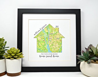 Housewarming Gift, Gift for new home owner, Realtor Gift, Closing Gift, GPS Coordinates, Framed Map, Map Art, New Home, Map of House
