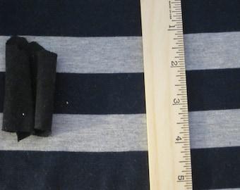 "Beautiful Navy Blue & Heather Grey apx 1 1/8"" wide Stripe Knit Fabric"