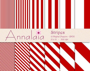 INSTANT DOWNLOAD Digital Paper Pack: Dark Red and White Stripes Lines 12x12 8,5x11 Scrapbook Paper Commercial Use 139