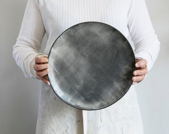 Large Ceramic serving plate, Stoneware serving Platter, Unique plate, Pottery Serving dish, White Ceramic Plate, Housewarming Gift