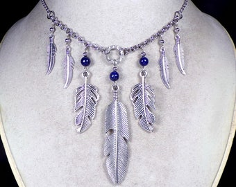 Southwest Style Lapis & Silver Feather Bib Necklace