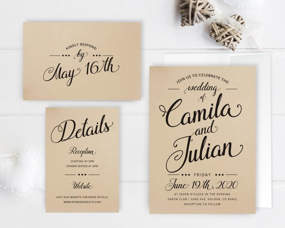 What To Include In A Wedding Invitation Pack: Cheap Wedding Invitation Packages Kraft Wedding Invitation