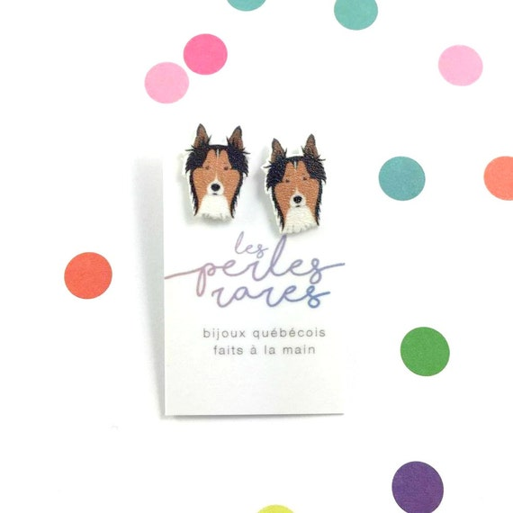 Scotch Collie, dog earring, brown, dog, hypoallergenic, plastic, stainless stud, handmade, les perles rares