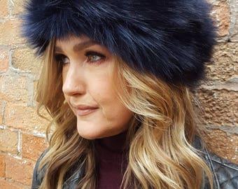 Midnight Blue Faux Fur Headband / Neckwarmer / Earwarmer Handmade in Lancashire England