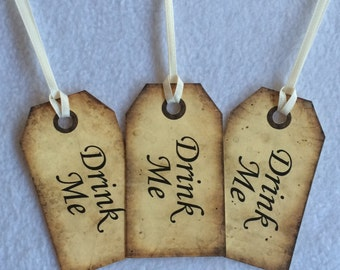 Drink Me - Alice in Wonderland inspired tags -  wedding favours, party favours, set of 10