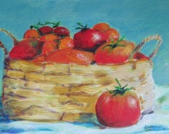 Tomato painting, Tomato art, Veggie Basket, 10x14 original acrylic by Shirley Lowe, kitchen art, dining area art, vine ripened tomatoes
