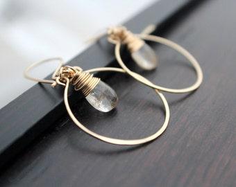 Golden Rutilated Quartz  Earrings , Hoops In 14K Gold Filled , Modern Gemstone Hoop Earrings - Angel Face
