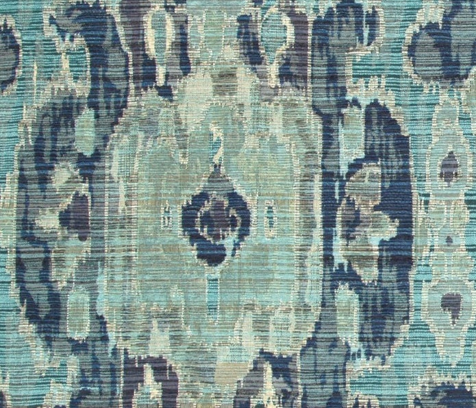 Navy Blue And Teal Woven Ikat Upholstery Fabric Contemporary