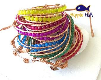 Leather wrap bracelet, double wrap bracelet, leather bracelets, hipster, wrap around bracelet, hippie, beaded bracelet, boho bracelet