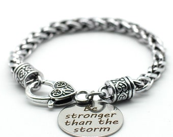 Antique Silver Tone Braid Inspiration Bracelet, Be Stronger than the Storm, Handmade in USA, SB01