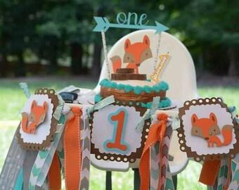 High chair fox banner/First/One/1st Birthday/woodland/tribal/Arrow