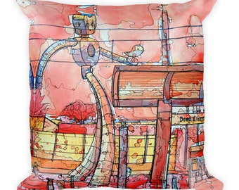 Walking Traveling Man by Dan Colcer - Art Pillow