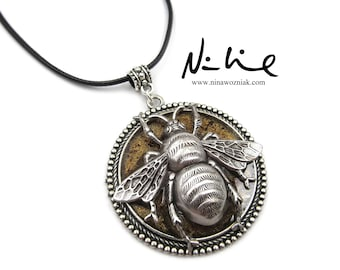 NEW Large Bumble Bee Silver Plated Pendant Adjustable Black Cord Necklace (SSNK167)