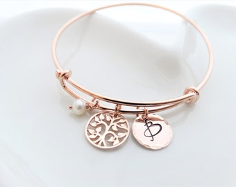 Tree of life Bracelet Rose Gold Personalized Jewelry Mother of the bride gift Tree of life bangle bracelet gift for mom Family tree bracelet