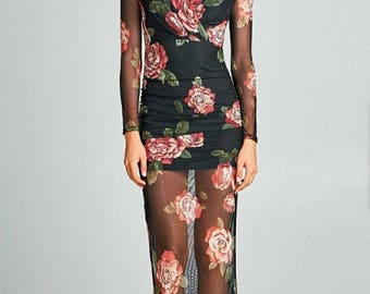 Ladies fashion long sleeve deep v-neck ruched floral printed mesh maxi dress