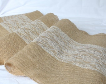 Jute table runner and ivory lace Vintage