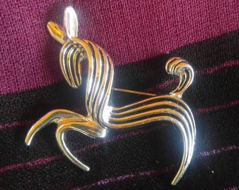 Vintage Emmons Stylized Silver Horse Brooch Pin