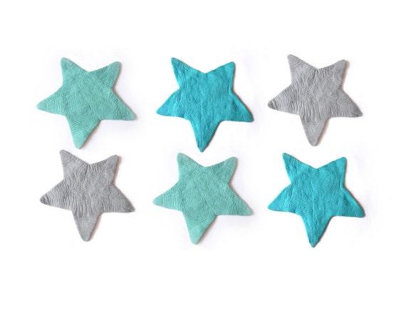 Sterne Filz Teppich MINT blaugrau regelmäßige Filz Teppich