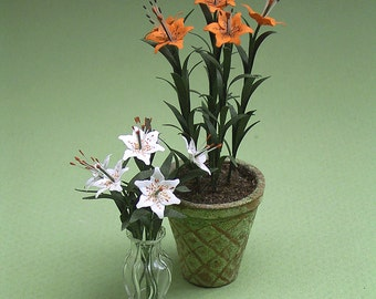Lily Paper Flower Kit  for 1/12th scale Dollhouses, Florists and Miniature Gardens