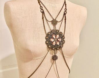 Shoulder Harness. Body Harness. Shoulder Jewelry. Bronze Color Necklace.
