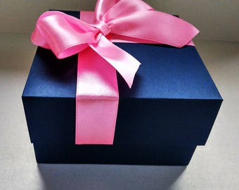 Bridesmaid gift box, packaging box, navy blue box, elegant boxes, jewelry gift boxes, boxes with lids, wedding favor boxes, blue wedding