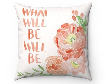 What Will Be Watercolor Florals Pillow Orange