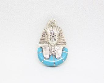 Egyptian Silver Tutankhamun Pendant Inlaid With Turquoise