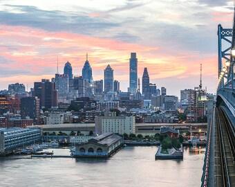 Philadelphia Photograph of Ben Franklin Bridge,Canvas Art (20x40)