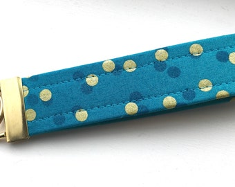 Ombré Turquoise Gold  Dots Key Chain Wristlet Key Fob Gold Colored Hardware Unique Wristlet Key Fob Ombre Confetti Fabric