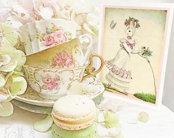 Rabbit card, anthropomorphic rabbit, vintage illustration, Easter card, birthday card, all occasion card, blank inside
