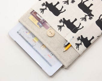 30% OFF SALE iPad Air Case with Moose pocket and button closure. Padded Cover for iPad Air 1 2. iPad Air Sleeve Bag.