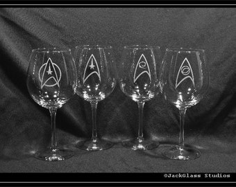 Star Trek Wine Etched Glass set of 4 Glasses by Jackglass on Etsy