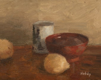 Original still life oil painting - japanese dishes and lemons