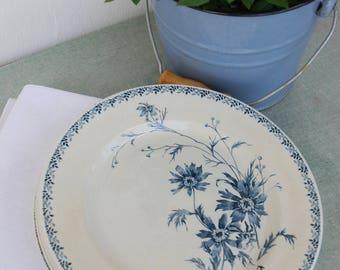 Set of 6 German Ironstone Dessert Plates. Villeroy & Boch. Paris. Blue Transferware. Creamware.
