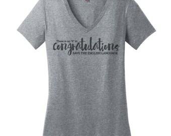 English Teacher Shirts Womens V Neck T Shirt V Neck Tee Grammar Shirt Womens Shirt English Teacher Gift for Teachers Women Grammar Tshirt