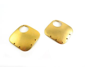 4 connector square domed diamond dome 6 holes, 39mm raw brass print. PV-204