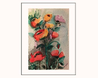 Handpainted Watercolor Greeting Card with Poppy Flowers - Original Artwork