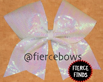 Iridescent Pearl White Sequin Cheer Bow