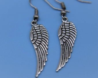 Angel Wing Earrings, Wing Earring, Angel Jewelry, Angel Wing Charms, Silver Angel Wings Charms Earrings, Angel Wings Jewelry