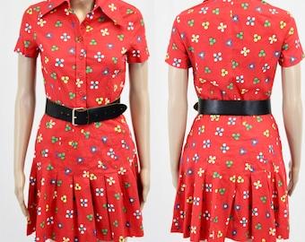Red Printed Dress / XS / Shirt Dress / Flower Prints / Pleaded Skirt