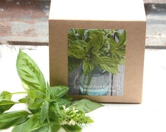 Sweet Basil Seed Kit, DIY Kit, Garden Kit, Basil Seeds with Growing Supplies Gift for Mom Hostess Gift or Gift For Gardener
