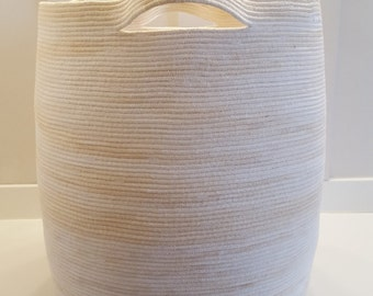 Giant White and Tan Variegated Rope Basket  with Handles
