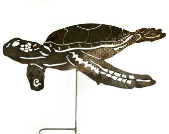 Sea Turtle Garden Art Stake -  Yard Art / Garden Art Wall Decor