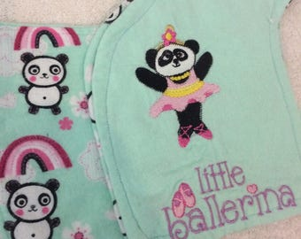 Burp Cloths  *Contoured Shape*  Fits Shoulder Comfortably*  Protects your clothes  from spit-ups*  Pandas *  Ballerina Panda*  Embroider