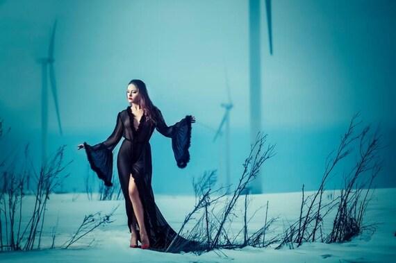 Black Boudoir Dressing Gown Lingerie Marabou Sexy Feather