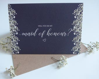 Rustic Will You Be My Maid of Honour Card, Maid of Honour Wedding Card, Maid of Honour, Gypsophila, Navy