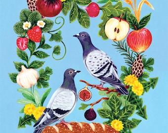 Pigeons on Edible Wreath, Kitchen Art, 8 x 10 Art Print